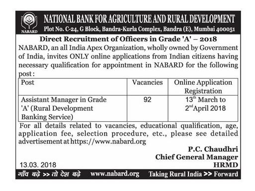 Eligibility Criteria for NABARD.org Recruitment 2018